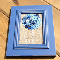 Balloon Button Art - Blue Balloon Button Art, Childrens Room, Baby Shower Gift, Baby Boy gift, Framed Button Art, Buttons and Burlap