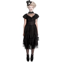 Gothic Emo Steampunk Dark Side Black Swiss Dot Lace Augustine Party Dress