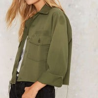 After Party by Nasty Gal Crop Sign Army Jacket
