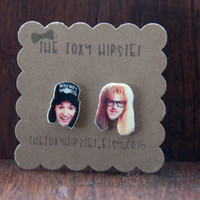 Waynes World Stud Earrings,  gift idea, cool jewelry, unique, funky, wayne, garth, movie, snl, party time, 90's