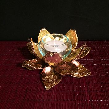 Lotus Tealight Candle Holder | Gold Leafed | Thai Metal Art