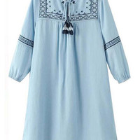 New Fall Casual Blue Tencel Denim Embroidered Dress