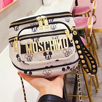 Onewel Moschino Mickey Joint Edition Limited Edition Canvas Chain Bag waist bag Beige