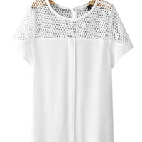White Short Sleeves Blouse with Embroidery Lace Neckline