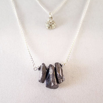 Double Tier Necklace / Sterling Silver / Titanium Crystal Druzy / Geode Agate Stone Necklace / Dark Stone Necklace