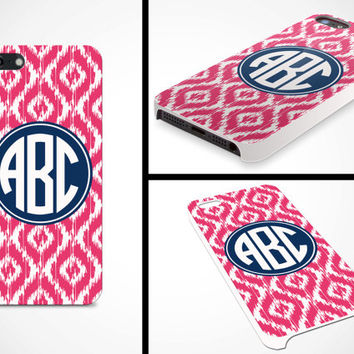 iPhone 5 Cell Phone Case Custom Color Ikat Circle Monogram Initials Apple Personalized Name Protective White Plastic Hard Cover VM-1047