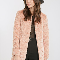 FOREVER 21 Textured Faux Fur Coat Dusty Pink