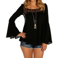 Sale-black Lace Bell Sleeve Top
