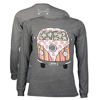 Southern Couture Lightheart Live Free Van Triblend Front Print Long Sleeve T-Shirt