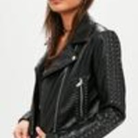 Missguided - Black Concealed Stud Biker Jacket