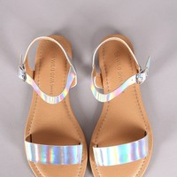 Wild Diva Lounge Holographic Ankle Strap Flat Sandal