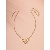 Hollow Out Heart Charm Necklace