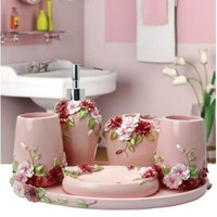 6pcs Resin Bathroom Accessories bathroom set household items toothbrush holder,Soap Dispensers,Soap Dishes Mediterranea Style