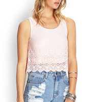 Crocheted-Mesh Overlay Top