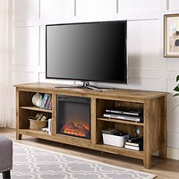 Barnwood 70-inch TV Stand Electric Fireplace Space Heater