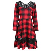 Vintage Casual Long Sleeve Pin Up Dress Red Plaid Lace Party Dress Autumn Winter