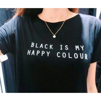 black is my happy colour shortsleeve tshirt from theroyaldept