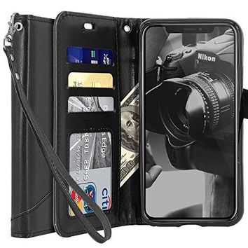 Tocol For iPhone X Case Premium PU Flip Leather Wallet Protective Case Cover Magnetic Closure With Card Slots for Apple iPhone X - Black