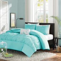 Twin / Twin XL Mint Blue Light Teal Ruched Fabric Comforter Set