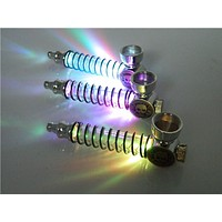1PC Spring Pipe Colorful LED Flash Light Metal Smoking Creative Portable Gift Smoke Herb Herbal With 5 Screen Tobacco Pipes