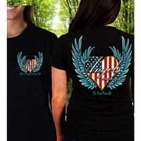 Country Life Outfitters Angel Black USA Heart American Flag Wings Vintage Girlie Bright T Shirt