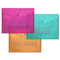 "Small Schemes / Grand Plans / Big Ideas Plastic Storage Envelope Set | 3 Pack | 11.5"" x 9"""