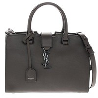 Saint Laurent Women's Baby Cabas Monogram Smooth Bag with Black Lacquer Interlocking Logo Dark Grey Brown