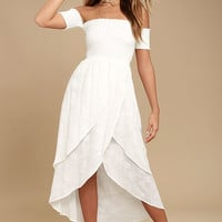 Lucy Love Barefoot Bride White Embroidered Midi Dress