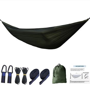1-2 Person Portable Outdoor Camping Hammock with Mosquito Net High Strength Parachute Fabric Hanging Bed Hunting Sleeping Swing (Green)