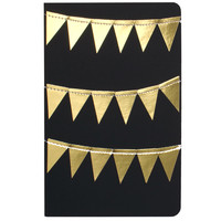 Black with Stitched Gold Bunting Moleskine Lined Journal