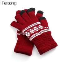 Feitong Screen Gloves Women Snowflake Printing Knitted Gloves Winter Unisex Men Hand Warm Mittens Women's Glove Mitts #JOY