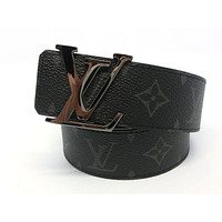 AUTH Louis Vuitton Monogram Eclipse LV Initials 40mm Reversible Belt M9048 95/38