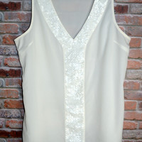 Ivory Sequined Tank Blouse M