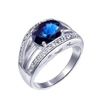 2ct sapphire silver ring