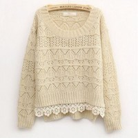 Beige Sweet Vintage Hollow Short Sweater from Showmall