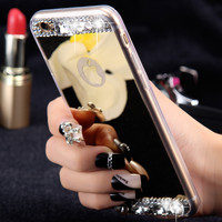 FLOVEME Diamond Mirror Case For iPhone 7 6 6S Plus 5s SE Handmade Rhinestone Crystal Acrylic Cover For Apple iPhone 6 7 6S 5S
