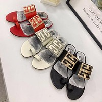 Givenchy hot sale new gold buckle ladies sexy temperament sandals and slippers