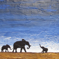 "ARTFINDER: original abstract landscape african art ""elephants , family reunion"" africa animal painting art canvas - 30 x 40 "" by Stuart Wright - A good sized original abstract canvas painting ..."