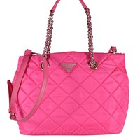 Prada Fuxia Quilted Tessuto Nylon Chain Strap Shoulder Bag Tote 1BG740