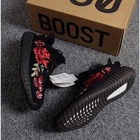Kanye West x Adidas Yeezy 350 V2 Boost Embroidery Peony Flower Sport Shoes Running Shoes