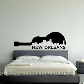 Wall Decor Vinyl Sticker Room Decal Art New Orleans City Music Logo Made As Guitar Skyline 988