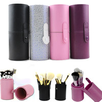 Travel PU Leather Cosmetic Brush Pen Holder Storage Empty Holder Makeup Box Make Up Artist Bag Cosmetic Tools 4 Colors