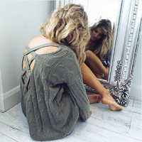 ♡ Criss cross top Backless knitted sweater ♡