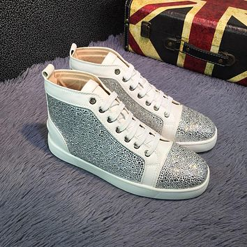Cl Christian Louboutin Louis Strass Bling Blin White Grey Men's Women Flat Shoes Boots
