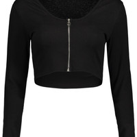 Knitted Zip Up Cropped Top