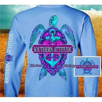 Country Life Outfitters Southern Attitude Snappy Turtle Anchor Bow Carolina Blue Vintage Girlie Bright Long Sleeve T Shirt
