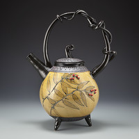 Amber Basket Handled Teapot by Suzanne Crane (Ceramic Teapot) | Artful Home
