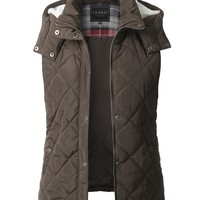 LE3NO Womens Fully Lined Quilted Puffer Sleeveless Vest with Fleece Hoodie