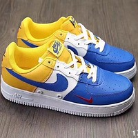 NIKE AIR Force 1 2018 Men's Fashion Casual Shoes F-A36H-MY blue/white/yellow