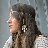 Gold Dainty chain headpeice, Dream catcher Head piece